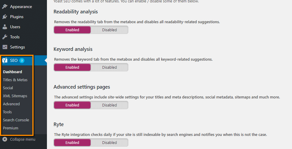 configure yoast advanced settings