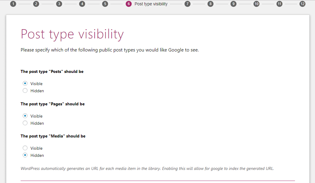 yoast settings for post visibility