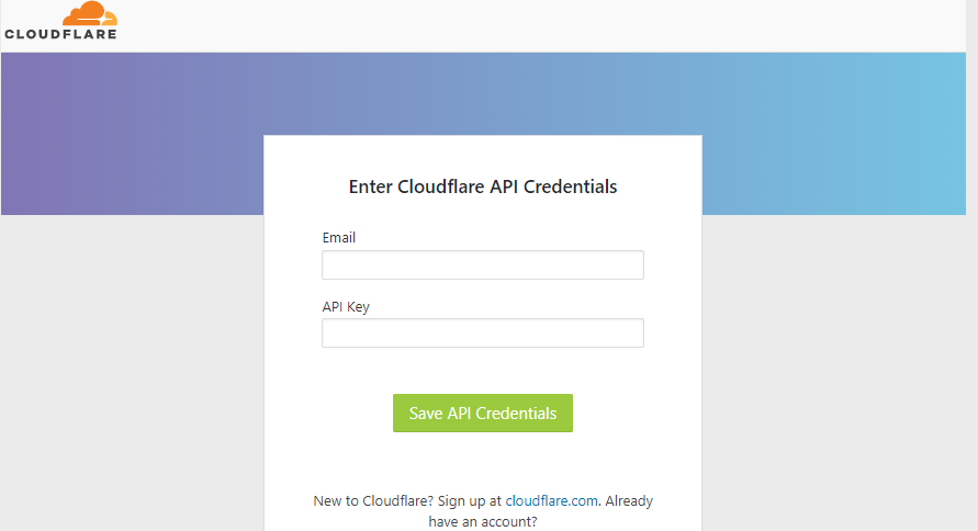 enter cloudflare api key