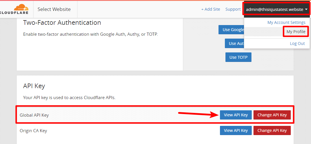 find cloudflare api key