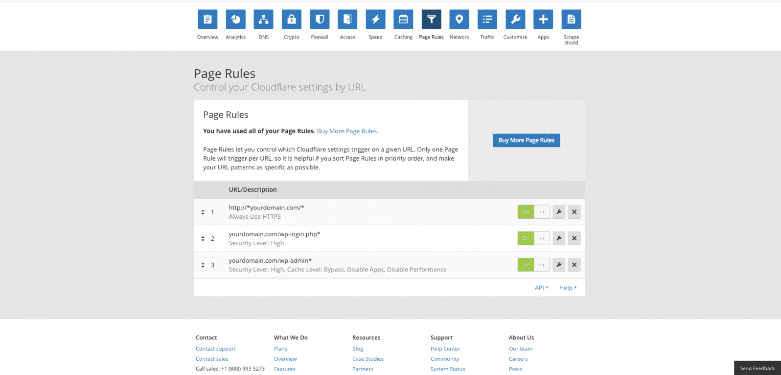 all three cloudflare page rules